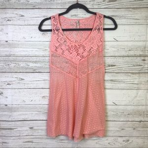 Intimately free pink Tank racer lace blouse Small